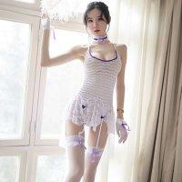【歳末SALE☆全品10%OFF】セクシーな透け感とガーリーなアイテム達がキュートなガーターランジェリー(GARTER LINGERIE) ホワイト