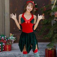 【フェア対象商品☆30%〜67%OFF】小ぶりの鈴が愛らしいクリスマスツリーの妖精風セクシーコスプレ(SEXYCOSPLAY)