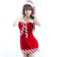 クリスマスカラーのポップなベアワンピがキュートなサンタガール風セクシーコスプレ(SEXYCOSPLAY)