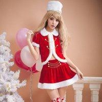 【フェア対象商品☆30%〜67%OFF】くるみ割り人形みたいなデザインがかわいいサンタガール風セクシーコスプレ(SEXYCOSPLAY)