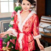 フェアリー感のある透け感がセクシーなクリスマスカラーのガウン風セクシーコスプレ(SEXYCOSPLAY) レッド