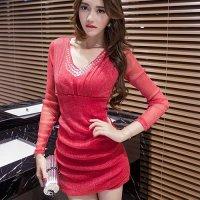 【春分フェア☆第2弾】織り込まれたラメ糸と胸元のストーンが鮮やかに輝くドレス(SEXYDRESS) レッド