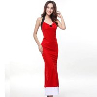 ロング丈のドレスワンピが大人の色気を振りまくサンタガール風セクシーコスプレ(SEXYCOSPLAY)