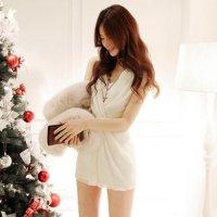 ふんわり柔らかなメッシュシフォンが女性をより美しく魅せるドレス(SEXYDRESS) ホワイト
