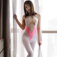 レオタードにストッキングを合わせたようなフェティシズム薫るボディスーツ(BODYSUIT) ホワイト×ピンク