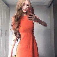 【春分フェア☆第2弾】両サイドにループさせたストリングがファッショナブルなドレス(SEXYDRESS) オレンジ