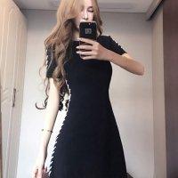 【サマーフェスタ☆全品20%OFF】両サイドにループさせたストリングがファッショナブルなドレス(CABARETDRESS) ブラック