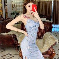 【歳末SALE☆全品10%OFF】可愛すぎないダスティカラーで大人ガーリースタイルを取り入れたドレス(キャバドレス・CABARETDRESS)