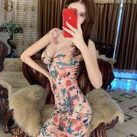 【全品20%OFF!☆ウィークエンドフェア】鮮やかなボタニカルデザインがシーンを選ばず着こなせるドレス(CABARETDRESS)