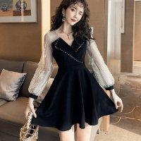 【最大25%OFF☆ホワイトデー】大きめ襟のカシュクールがフェミニン&クールなドレス(キャバドレス・CABARETDRESS)