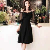 エレガントなミディ丈が上品な大人の華やかさを感じさせるドレス(SEXYDRESS) ブラック