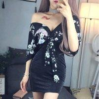 【春分フェア☆第2弾】クラシカルな和柄をセンシャルに着こなすオフショル風ドレス(SEXYDRESS)