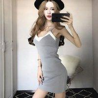 サマーニットの短めスカート丈が軽やかなキャミタイプのドレス(SEXYDRESS) グレー