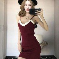サマーニットの短めスカート丈が軽やかなキャミタイプのドレス(SEXYDRESS) ワインレッド