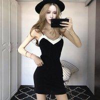 サマーニットの短めスカート丈が軽やかなキャミタイプのドレス(SEXYDRESS) ブラック