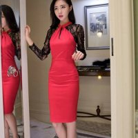 【春分フェア☆第2弾】レース袖の切り替えから大人のセンシャルムードが溢れるドレス(SEXYDRESS) レッド
