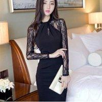 【値引率UP☆全品15%OFF】レース袖の切り替えから大人のセンシャルムードが溢れるドレス(キャバドレス・CABARETDRESS) ブラック