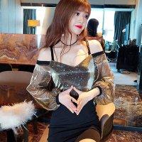輝くラメ糸に星と月のホログラムが浮かぶロマンティックなドレス(SEXYDRESS)