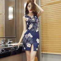 【ホワイトデー☆フェア 第1弾】存在感をアピールする花柄がモダンなチャイナドレス風ドレス(SEXYDRESS) ネイビー