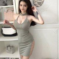 ラインストーンが輝くチェーンがアクセサリーのように華やかなドレス(SEXYDRESS) ライトグリーン