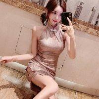 【ホワイトデー☆フェア 第1弾】爽やかにはじけるシャンパンピンクの上品カラーで特別感を得られるチャイナドレス(SEXYDRESS)