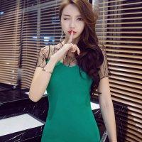 透け感のあるメッシュのレイヤードでフェミニンな大人ムードが薫るドレス(SEXYDRESS) グリーン
