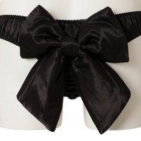 ヒップに大きなリボンをあしらい女性らしさを打ち出したインパクト抜群のTバック・ショーツ(T-BACK・SHORTS) ブラック