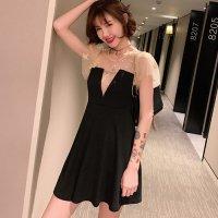 【最大25%OFF☆ホワイトデー】大きめのスターが輝くチュール素材がヌーディにかわいいドレス(キャバドレス・CABARETDRESS)