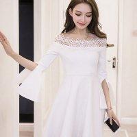 オフショルダーで美しく華奢なデコルテを魅せるドレス(SEXYDRESS) ホワイト