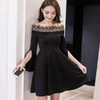 オフショルダーで美しく華奢なデコルテを魅せるドレス(SEXYDRESS) ブラック