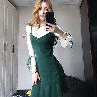 【春分フェア☆第2弾】フェイクレイヤードの1枚仕立てニットワンピで上品に可愛らしいドレス(SEXYDRESS) グリーン
