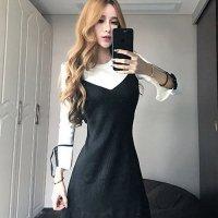 【春分フェア☆第2弾】フェイクレイヤードの1枚仕立てニットワンピで上品に可愛らしいドレス(SEXYDRESS) ブラック