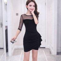 【春分フェア☆第2弾】シアーレースとラップデザインで女性をより美しく魅せるドレス(SEXYDRESS) ブラック