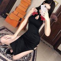 【サマーフェスタ☆全品20%OFF】鮮やかな薔薇の刺繍が目を惹くミディ丈のチャイナドレス(CABARETDRESS)