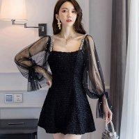 【春分フェア☆第2弾】キャンディー袖とパールがパーティーシーンに華を添えるドレス(SEXYDRESS) ブラック