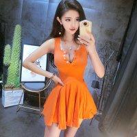 【春分フェア☆第2弾】コットン混が嬉しいカジュアルセクシーなドレス(SEXYDRESS) オレンジ