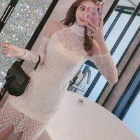 【春分フェア☆第2弾】オールレースがラグジュアリーなドレス(SEXYDRESS) ホワイト