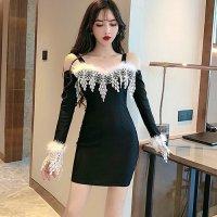 【春分フェア☆第2弾】ファーとレースを贅沢に使用したドレス(SEXYDRESS) ブラック