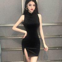 【決算最終値引☆全品20%OFF!】ベロアのベーシックデザインが人気のチャイナドレス(チャイナドレス・CHINADRESS) ブラック