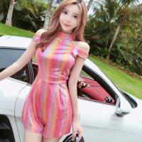 【週末限定☆980円均一】メタリックに輝くオールインワンのドレス(キャバドレス・CABARETDRESS) ピンク