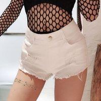 【歳末SALE☆全品10%OFF】ヒップのダメージ加工がワイルドなセクシーさを引き出すデニムショートパンツ(PANTS) ホワイト