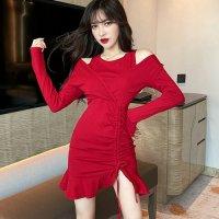 【最大25%OFF☆ホワイトデー】重ね着風のレイヤードスタイルがファッショナブルなドレス(キャバドレス・CABARETDRESS) レッド
