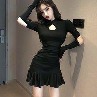 チャイナドレス風マオカラーの裾フレアドレス(CABARETDRESS) ブラック