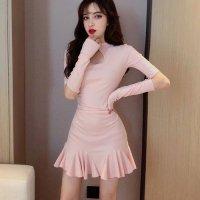 【週末限定☆半額SALE】チャイナドレス風マオカラーの裾フレアドレス(チャイナドレス・CHINADRESS) ピンク