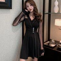 透け感のあるドットチュール袖のドレス(キャバドレス・CABARETDRESS)