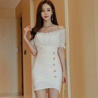 純白パフスリーブのハイウエスト切り替えドレス(キャバドレス・CABARETDRESS)