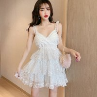 ティアードフリルのスター柄ドレス(CABARETDRESS) ホワイト