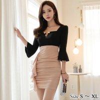 【歳末SALE☆全品10%OFF】ボタンチェーンがデコルテを輝かせるドレス(キャバドレス・CABARETDRESS) ブラック