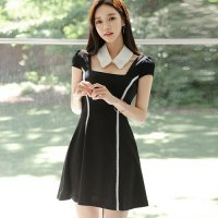 パールの付け襟がキュートなドレス(キャバドレス・CABARETDRESS) ブラック