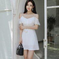 【最大25%OFF☆ホワイトデー】純白のフリルオフショルが大人可愛いドレス(キャバドレス・CABARETDRESS) ホワイト